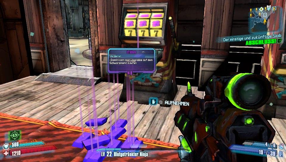 Glück am Spielautomaten: Gaaaaaanz viel kostbares Eridium, mit dem sich Kapazitäten für Munition und Gegenstände erhöhen lassen.